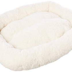 HappyCare Textiles HCT ERE-001 Super Soft Sherpa Crate Cushion Dog and Pet Bed, 24 by 18-Inch, White