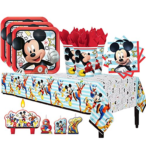 Disney Mickey Mouse On the Go Birthday Party Pack for 16 with Plates, Napkins, Cups, Tablecover, and Candles