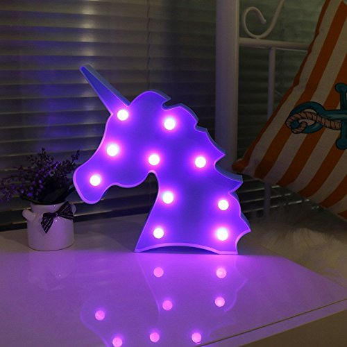 Blue Unicorn Head Purple Emitting Led Night Light Animal Shape Marquee LED Lamps Kids Children Bedroom Decortive Table Lamps Party Wedding Indoor Mood Lighting