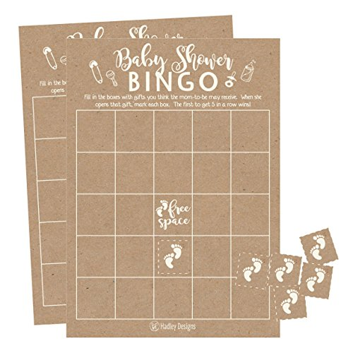 25 Rustic Kraft Bingo Game Cards For Baby Shower, Bulk Blank Bingo Squares, PLUS 25 Pack of Baby Feet Game Chips, Funny Baby Party Ideas and Supplies For Girl or Boy, Cute Kids Woodland Paper Pattern