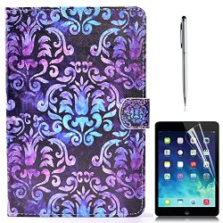 iPad Air 2 Case, Gift-Hero(TM) Leather Smart iPad 6 Case with Auto Sleep/Wake Function Stand Cover Magnetic Closure Cards Slots Wallet Shell for Apple iPad Air 2 Tablet (Blue Purple Flower)