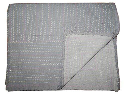 Bhavya International White Cotton Kantha Quilt Indian Handblock Bedspread Bedsheet