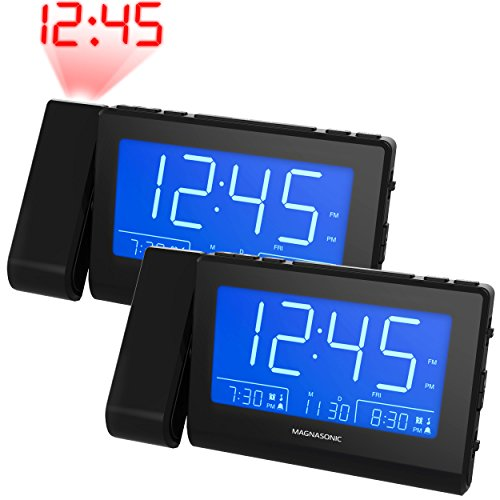 """Magnasonic Alarm Clock Radio with Time Projection, Auto Dimming, Battery Backup, Dual Gradual Wake Alarm, Auto Time Set, Large 4.8"""" LED Display, AM/FM (CR62) - 2 Pack"""