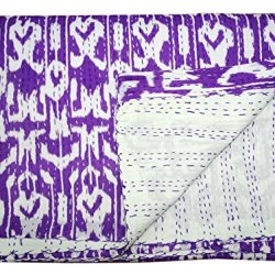 Bhavya International Indian Handmade Kantha Quilt Geometric Bedspread Bedcover Queen