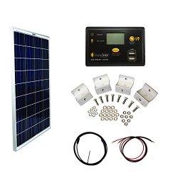 Grape Solar GS-100-BASIC Basic Off Grid Polycrystalline Solar Panel Kit, 100W