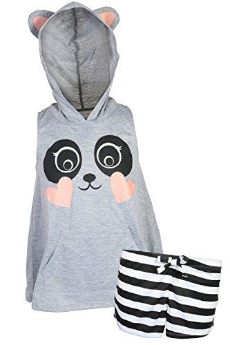 dELiA*s dELiAs Girl's Sleeveless Summer Pajama Short Set With Animal Character Hood