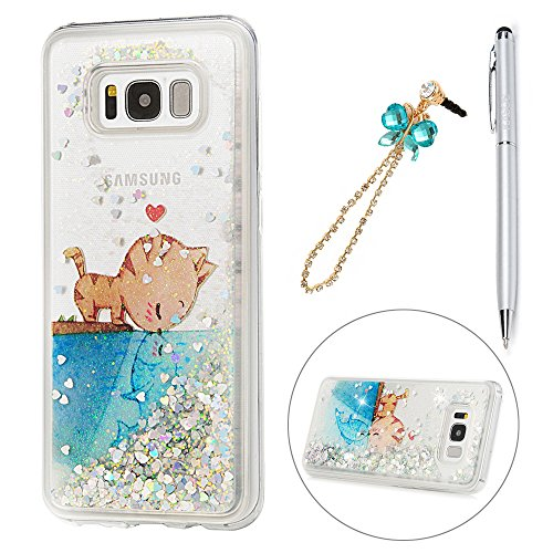S8 Plus Case, KASOS Colorful Painting Cute Cartoon Pattern Soft TPU Clear Case Bling Heart Shape Quicksand Ultra-Thin Slim Fit Lightweight Case Cover & Dust Plug & Stylus for Samsung - Fish & Cat