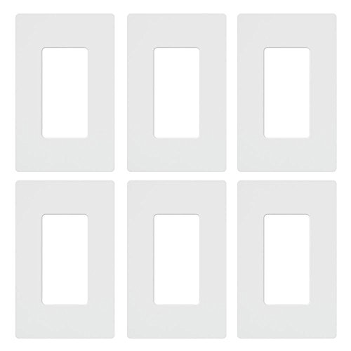 Lutron Claro 1 Gang Decorator Wallplate (6-Pack), CW-1-WH-6, White