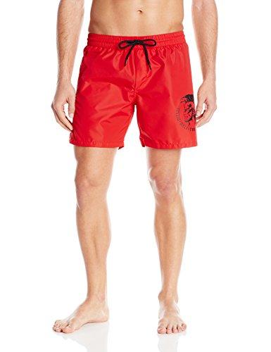 Diesel Men's Wave Mohican Logo Swim Short, Red, Large