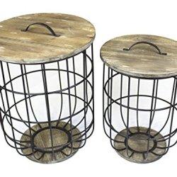 Sagebrook Home FM10406-01 Metal & Wood Barrel Storage Tables Metal, 18 x 18 x 23.25 Inches (Set of 2)