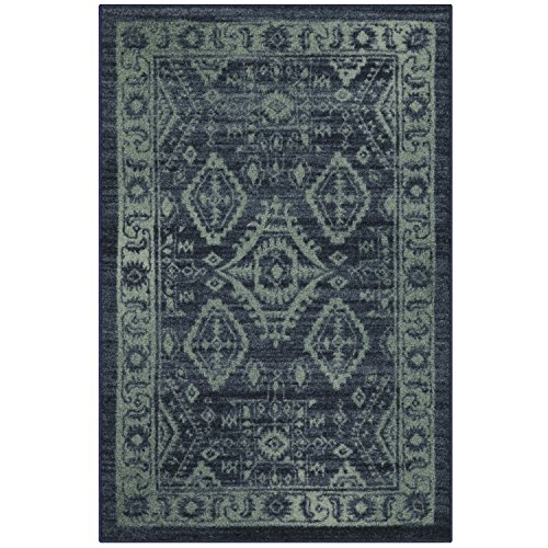 Maples Rugs Kitchen Rugs, [Made in USA][Georgina] 2'6 x 3'10 Non Slip Padded Small Area Rugs for Living Room, Bedroom, and Entryway - Navy Blue/Green