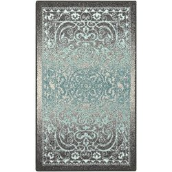 Maples Rugs Kitchen Rugs, [Made in USA][Pelham] 2'6 x 3'10 Non Slip Padded Small Area Rugs for Living Room, Bedroom, and Entryway - Grey/Blue
