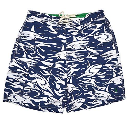 Polo Ralph Lauren Mens Shark Swim Trunks (M, Blue)