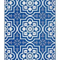 Fab Habitat Reversible, Indoor/Outdoor Weather Resistant Floor Mat/Rug Puebla - Blue (6' x 9')