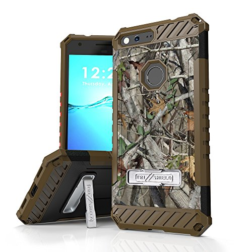 Google Pixel XL Case, Trishield Durable Rugged Armor Phone Cover With Detachable Lanyard Loop And Built in Kickstand Card Slot - Autumn Hunter Camouflage