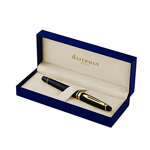 Waterman Expert Black with Golden Trim, Rollerball Pen with Fine Black refill (S0951680)