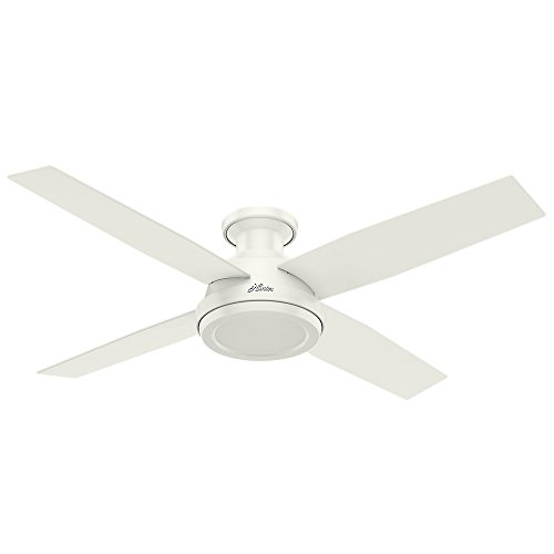 Hunter Dempsey Low Profile Fresh White Ceiling Fan With Remote, 52""