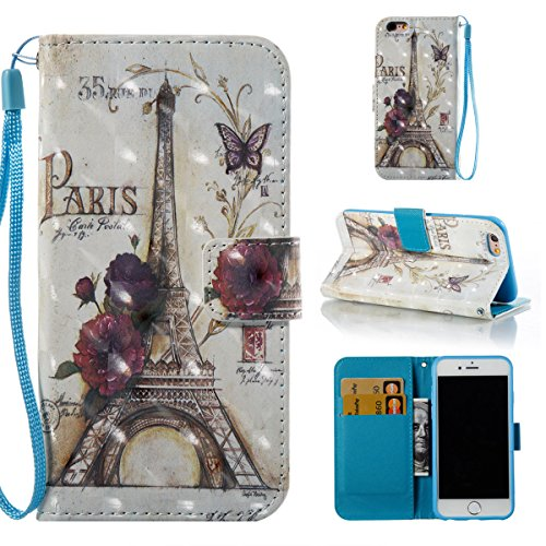 """iPhone 6S Case,iPhone 6 Cover,Gift_Source Fashion Flip PU Leather Holster [Card Slots] [Wrist Strap] 3D Painted Wallet Folio Magnet buckle Case Stand Cover for iPhone 6s/6 4.7"""" [Paris Tower]"""