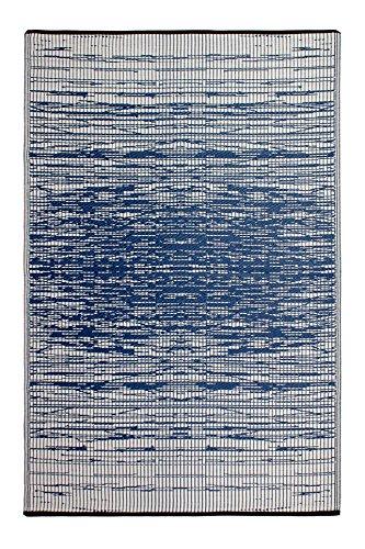 Fab Habitat Reversible, Indoor/Outdoor Weather Resistant Floor Mat/Rug - Brooklyn - Blue (4' x 6')