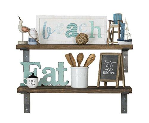 del Hutson Designs - Industrial Shelves w/ Metal Brackets (Set of 2), USA Handmade, Pine Wood (5H x 36W x 10D, Dark Walnut)