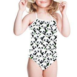 HUGS IDEA Panda Print Girls One Piece Swimsuit Cute Beach Halte