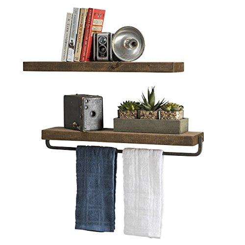 del Hutson Designs Handmade Rustic Pine Wood (2 x 24 x 5.5-inch) Floating Shelves with Towel Bar (Walnut)