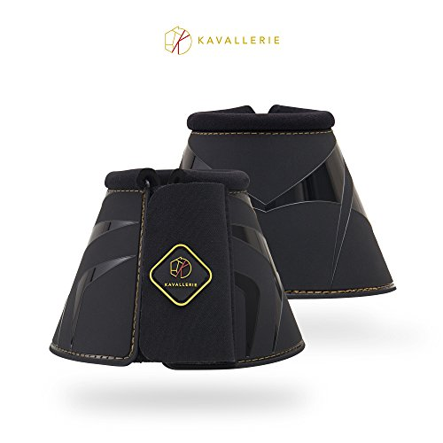 Kavallerie Classic Anti-Spin Bell Boots, Overreaching Protection, Durable with Secure Fit, Perfect for Cross Country, Hunting, Jumping and Exercises-XL-Black
