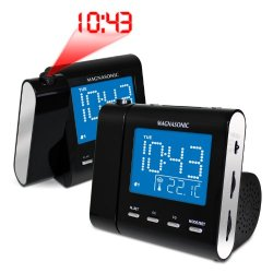 Magnasonic MAG-MM176K AM/FM Projection Clock Radio with Dual Alarm, Auto Time Set/Restore, Temperature Display, and Battery Backup - Bonus Pack of 2