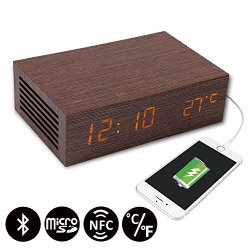 Homtime M9 Wooden Clock USB Charging Alarm Clock with NFC Bluetooth Speaker, LED Display, Indoor Thermometer
