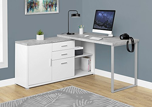 "Monarch Specialties Computer Desk - 60"" L White/Cement-Look Left/Right Face"