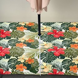 "Fabric Textile Products Hibiscus Garden Cabana Outdoor Tablecloth Milliken Waterproof with Zipper & Umbrella Hole 60""x104"""