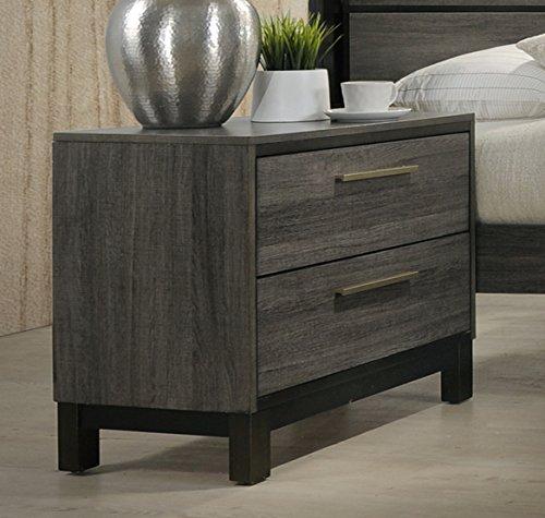 Roundhill Furniture Ioana 187 Antique Grey Finish Wood 2-Drawer Nightstand