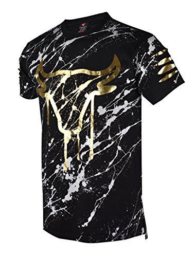 SCREENSHOT SCREENSHOTBRAND- Mens Hipster Hip-Hop Premiun Tees - Stylish Longline Latest Fashion Bull Print T-Shirts-Black-2XLarge