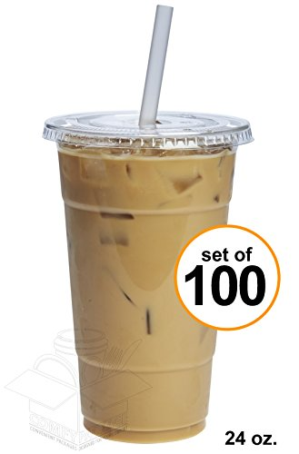 COMFY PACKAGE 100 Sets 24 oz. Plastic CRYSTAL CLEAR Cups with Flat Lids for Cold Drinks, Iced Coffee, Bubble Boba, Tea, Smoothie etc.
