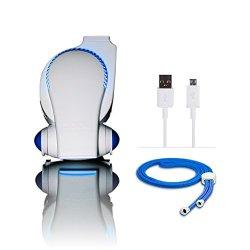 Cool on the Go Personal Clip On Fan with LED Lights - Versatile Hands-Free Personal Cooling Device - USB Fan/Stroller Fan/Table Fan/Travel Fan/Wearable Fan/Tent Fan/Fan & More. Red/White