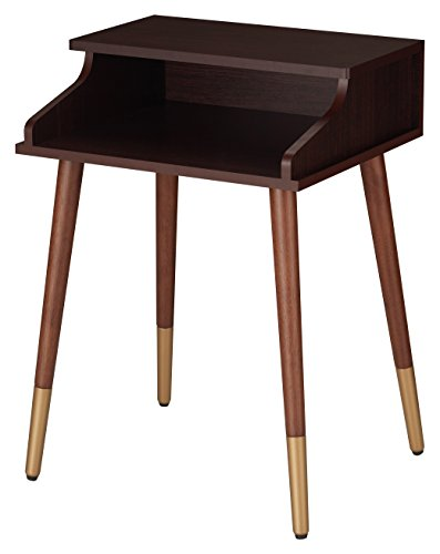 HOMES: Inside + Out FGI-1796C5 Zelus End Table Mid-Century Modern, Espresso