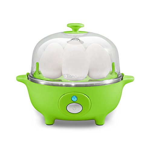 Elite Cuisine Maxi-Matic Egg Poacher & Egg Cooker with 7 Egg Capacity, Green (Styles May Vary)
