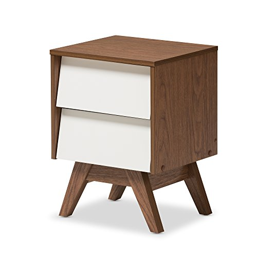 "Baxton Studio Herve Mid-Century Modern White & Walnut Wood 2-Drawer Storage Nightstand, White/""Walnut"" Brown"