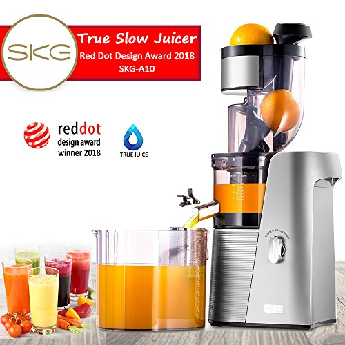 """SKG Cold Press Juicer High Yield Juice Extractor, Quiet Anti-Oxidation Easy to Clean 36 RPM 250W AC Motor & Large 3.15""""Turn Over Wide Mouth the Best Fruit and Vegetable Slow Masticating Juicer Mother"""