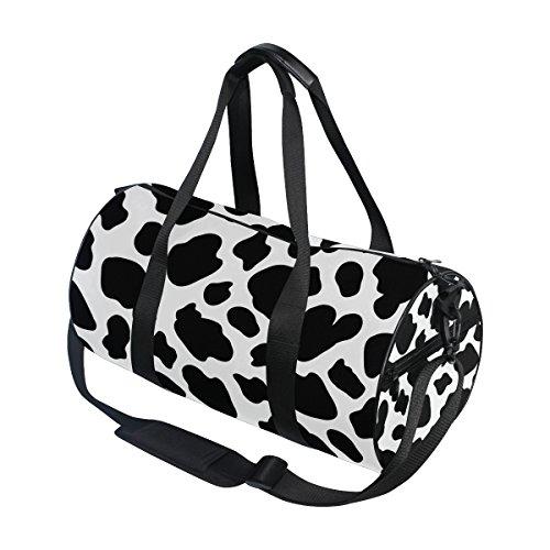 ALAZA Cow Skin Black White Travel Duffel Bag Sport Gym Luggage Bag for Men Women