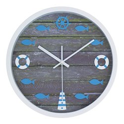 "JustNile Nautical Designed Wall Clock - 12"" White Frame Grey Wood Dial"