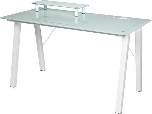 OneSpace Simply Glass Desk with USB and A/C Charging and Desktop Printer Stand, Aqua and White