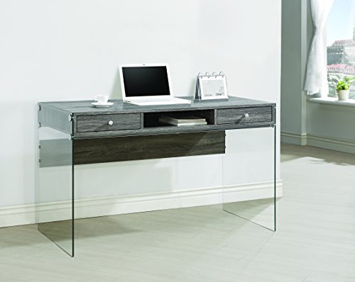 Coaster Contemporary Weathered Grey Writing Desk with Glass Sides