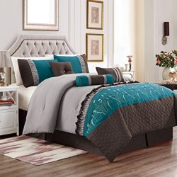 Unique Home 7 Piece Marcia Patchwork Bed in a Bag Comforter Set Burgundy (Teal/Grey, Queen)