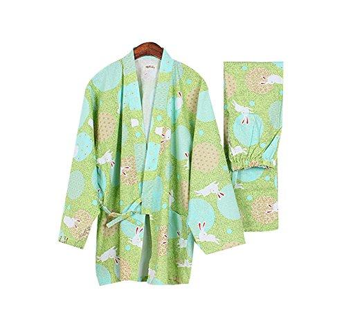 Cotton Long-sleeved Homewear Women Pajamas Fall and Winter Bathrobe, Rabbits
