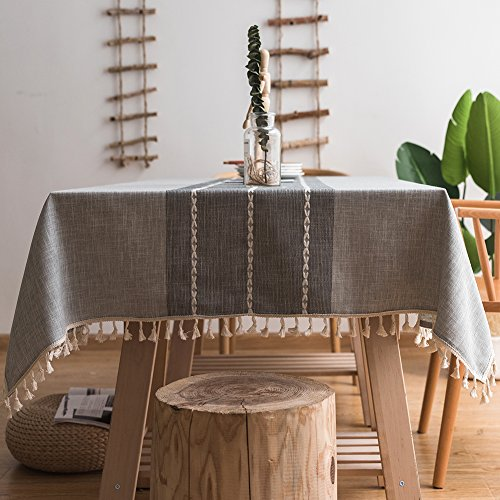 ColorBird Stitching Tassel Tablecloth Cotton Linen Dust-proof Table Cover for Kitchen Dinning Tabletop Decoration (Rectangle/Oblong, 55 x 102 Inch, Gray)