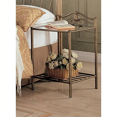 Coaster Home Furnishings Night Stand in Antique Gold Finish Metal