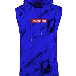 SCREENSHOTBRAND- Mens Hip Hop Longline Premium Tee - Pullover Sleeveless Hooded Fashion Screenshot Logo T-shirt - Royal - 2XLarge