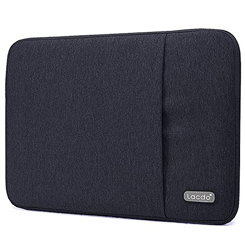 """Lacdo 13 Inch Waterproof Fabric Laptop Sleeve Case for Apple Macbook Air 13""""/MacBook Pro 13.3-Inch Retina 2012-2015/12.9 ipad Pro, HP Asus Dell Acer Chromebook Ultrabook Notebook Tablet Bag, Black"""