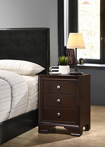 Roundhill Furniture Randers Wood Nightstand, 3-Drawer, Espresso